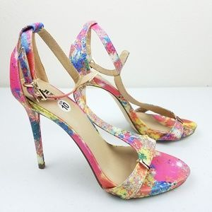 JUSTFAB Perlia Floral Open Toed Ankle Strap Heels